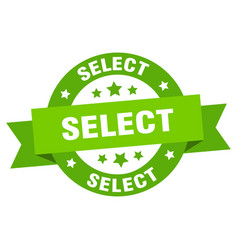 Select round ribbon isolated label select sign vector