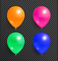 set flying balloons orange pink green and blue vector image