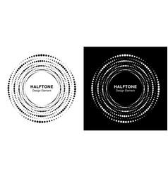set halftone circular dotted circle frame vector image
