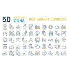Set line icons restaurant business vector