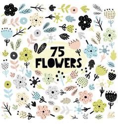 set of flowers and plants in scandinavian vector image