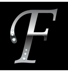 silver metallic letter F vector image
