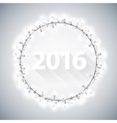 Simple 3D 2016 with Christmas Lights vector image