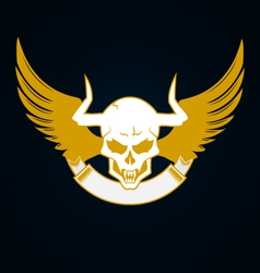 Skull with horns wings and emblem template vector
