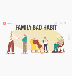 Smoking family landing page template characters vector