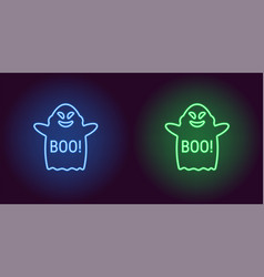 Soaring neon ghost in blue and green color vector