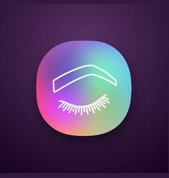 Steep arched eyebrow shape app icon vector