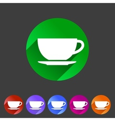 Tea coffee cup flat icon sign vector image