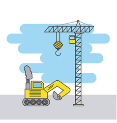 tower crane and bulldozer truck construction vector image
