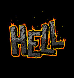 Vintage fiery hell inscription concept vector