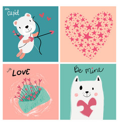 vintage pastel love valentine card vector image