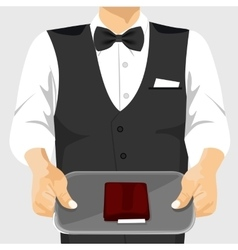 Waiter holding a tray with a check on it vector