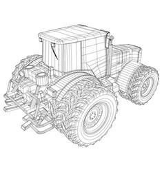 Wheeled tractor isolated on white vector