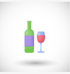 wine bottle and glass flat icon vector image