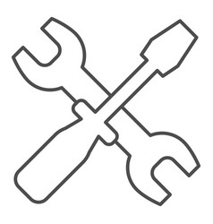 Wrench and screwdriver thin line icon options vector
