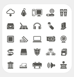 Computer Hardware icons set vector image vector image