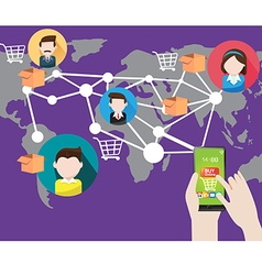 online shopping with smart phone in Social vector image vector image
