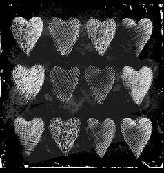 set of hearts hand drawn in chalk on a blackboard vector image