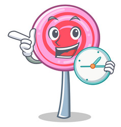 with clock cute lollipop character cartoon vector image