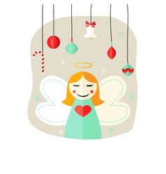 Christmas Angel Girl with Decorative Balls over vector image vector image