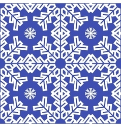 Christmas blue snowflakes seamless background vector image