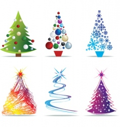 Christmas trees set vector image vector image