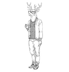 fashion animal deer hipster drinking coffee vector image