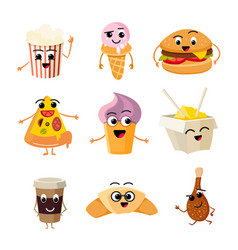 funny cartoon fast food set vector image vector image