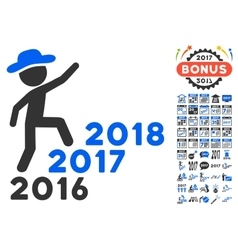Gentleman Steps Years Icon With 2017 Year Bonus vector image