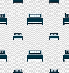 Hotel bed icon sign Seamless pattern with vector image