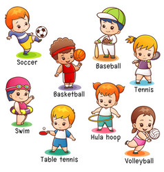 vocabulary sport character vector image vector image