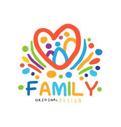 colorful happy family logo with abstract people in vector image vector image