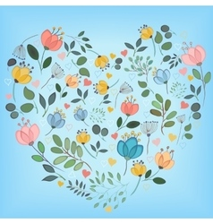 Colorful watercolor floral heart vector