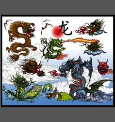 East asian dragons vector