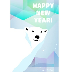 New Year card with polar bear vector image vector image