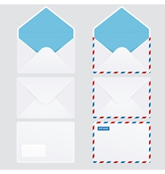 Set of 6 glossy envelope icons vector image