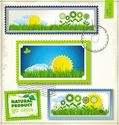 Set of nature post stamp vector image vector image
