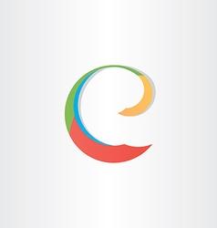 colorful letter e symbol vector image vector image