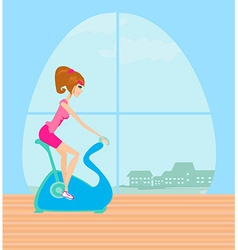 Girl on the exercise bike vector image vector image