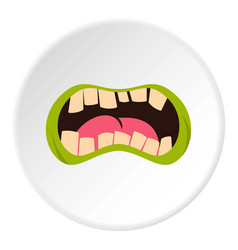 Open zombie mouth icon circle vector