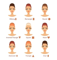 set of different womans face types vector image