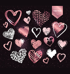white and rose gold grunge valentine hearts vector image vector image