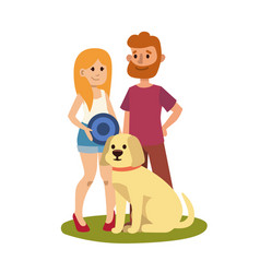 young couple family resting summer happy lifestyle vector image