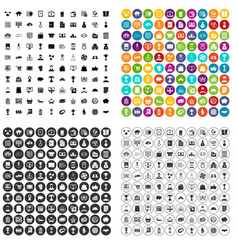 100 business icons set variant vector