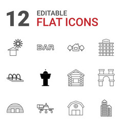 12 building icons vector