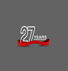 27 years anniversary line style white color vector