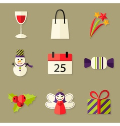 9 Christmas Icons Set 5 vector image