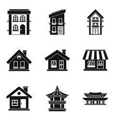 Abode icons set simple style vector