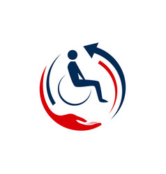 abstacrt medical transport with wheel chair logo vector image