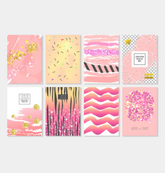 abstract card template set with golden glitter vector image